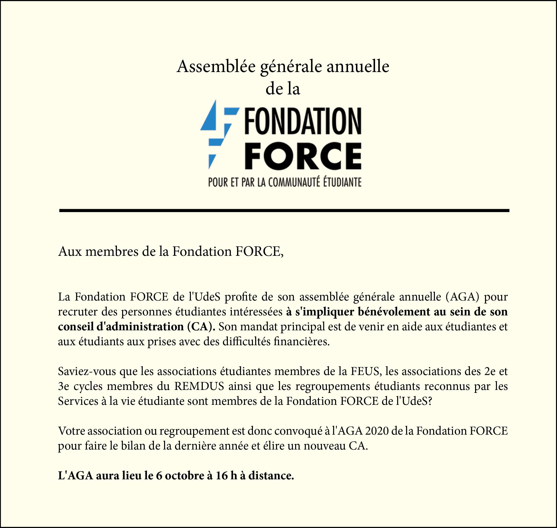 Assemblée générale annuelle de la Fondation Force